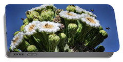 Portable Battery Charger featuring the photograph The Busy Little Bees On The Saguaro Blossoms  by Saija Lehtonen