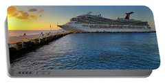 Portable Battery Charger featuring the photograph The Carnival Freedom At Sunset - Cozumel - Mexico by Jason Politte