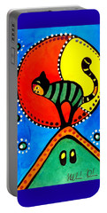 The Cat And The Moon - Cat Art By Dora Hathazi Mendes Portable Battery Charger by Dora Hathazi Mendes