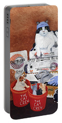 Portable Battery Charger featuring the painting The Cat Crew by Karen Zuk Rosenblatt
