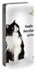 Portable Battery Charger featuring the painting The Cat's Hors D'oeuvres by Colleen Taylor
