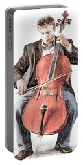 Portable Battery Charger featuring the photograph The Cello Player In Sketch by David and Carol Kelly