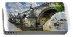 The Charles Bridge - Prague Portable Battery Charger by Tom Cameron