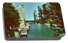 Portable Battery Charger featuring the photograph The Chicago River by Gary Wonning