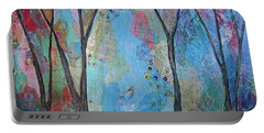 Portable Battery Charger featuring the painting The Clearing I by Shadia Derbyshire