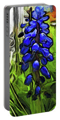 The Cobalt Blue Flowers And The Long Green Grass Portable Battery Charger