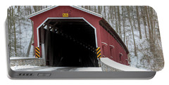 The Colemansville Covered Bridge In Winter Portable Battery Charger