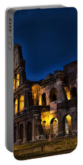 The Coleseum In Rome At Night Portable Battery Charger by David Smith