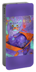Portable Battery Charger featuring the painting The Color Purrrple by Nancy Jolley