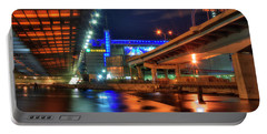 Portable Battery Charger featuring the photograph The Colors Under The Zakim - Leonard P Zakim Bridge - Boston by Joann Vitali