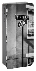 The Corner Of Winter And Spring Bw Portable Battery Charger