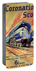 The Coronation Scot - Vintage Blue Locomotive Train - Vintage Travel Advertising Poster Portable Battery Charger