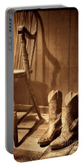 The Cowgirl Boots And The Old Chair Portable Battery Charger by American West Legend By Olivier Le Queinec