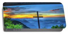 The Cross Sunrise At Pretty Place Chapel Portable Battery Charger by Reid Callaway