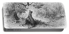 The Crow And The Fox Portable Battery Charger by Gustave Dore