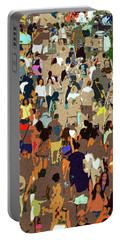 Portable Battery Charger featuring the painting The Crowd by David Lee Thompson