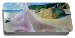 Portable Battery Charger featuring the sculpture The Crystalline Rainbow Shell Sculpture by Shawn Dall