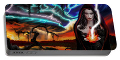 Portable Battery Charger featuring the painting The Dark Caster Calls The Storm by James Christopher Hill