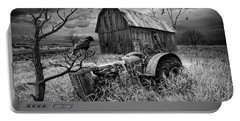 Portable Battery Charger featuring the photograph The Decline And Death Of The Small Farm In Black And White by Randall Nyhof