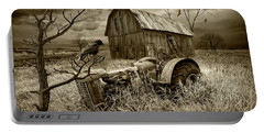 Portable Battery Charger featuring the photograph The Decline And Death Of The Small Farm In Sepia Tone by Randall Nyhof