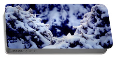 Portable Battery Charger featuring the photograph The Deep Blue - Winter Wonderland In Switzerland by Susanne Van Hulst
