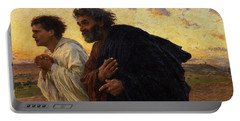 The Disciples Peter And John Running To The Sepulchre On The Morning Of The Resurrection Portable Battery Charger