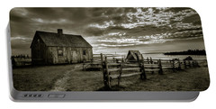Portable Battery Charger featuring the photograph The Doucet House - Bw by Chris Bordeleau