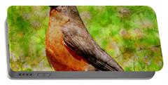Portable Battery Charger featuring the photograph The Early Bird . Texture . Square by Wingsdomain Art and Photography