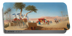 The Empress Eugenie Visiting The Pyramids Portable Battery Charger by Charles Theodore Frere