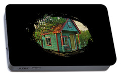 Portable Battery Charger featuring the photograph The Enchanted Garden Shed by Thom Zehrfeld