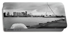 Portable Battery Charger featuring the photograph The Erasmus Bridge In Rotterdam Bw by RicardMN Photography
