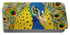 Portable Battery Charger featuring the painting The Eye Of The Peacock by Margaret Harmon