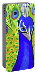 Portable Battery Charger featuring the painting The Face Of A Peacock by Margaret Harmon