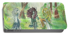 Portable Battery Charger featuring the painting The Fae - Sylvan Creatures Of The Forest by Shawn Dall