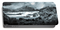 The Falls In Black And White Portable Battery Charger by Andrew Matwijec