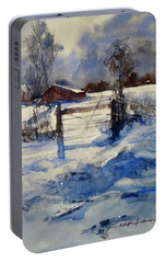 Portable Battery Charger featuring the painting The Farm On Barry by Sandra Strohschein