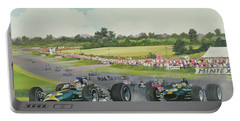 The First Lap - 1967, British Grand Prix At Silverstone Portable Battery Charger