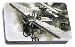 The First Reconnaissance Flight By The Rfc Portable Battery Charger by Wilf Hardy