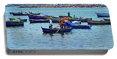 Portable Battery Charger featuring the photograph The Fishermen - Miraflores, Peru by Mary Machare