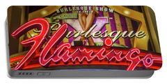 Portable Battery Charger featuring the photograph The Flamingo Burlesque Sign by Aloha Art