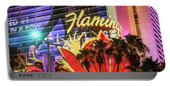 Portable Battery Charger featuring the photograph The Flamingo Neon Sign And Palm Trees Wide by Aloha Art
