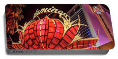 Portable Battery Charger featuring the photograph The Flamingo Neon Sign Wide by Aloha Art
