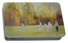 Portable Battery Charger featuring the painting The Game Of Cricket by Beatrice Cloake