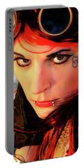 The Gaze Of Steam Punk Vixen Portable Battery Charger