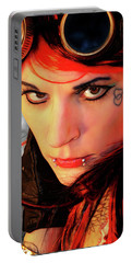 The Gaze Of Steam Punk Vixen Portable Battery Charger