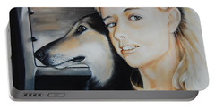 The Girl And Her Dog  Portable Battery Charger by Jean Cormier