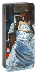 The Girl In The Chair Portable Battery Charger by Rick Nederlof