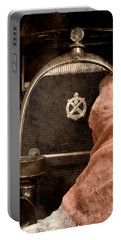 The Girl On The Background Of Vintage Car. Portable Battery Charger