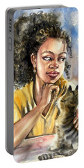 The Girl With A Cat Portable Battery Charger