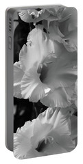 Portable Battery Charger featuring the photograph The Gladiolus In Black And White by Jeanette C Landstrom